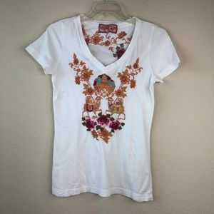 Johnny Was embroidered T-shirt Size Medium
